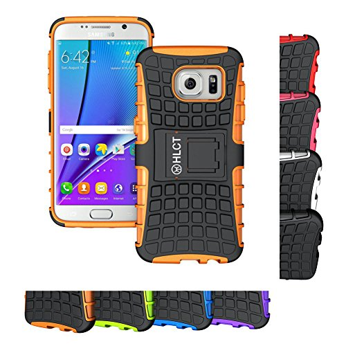 Rugged Edges (Galaxy S7 Edge Stand Case, HLCT Rugged Shock Proof Dual-Layer Case with Built-In Kickstand (2016) (Orange))