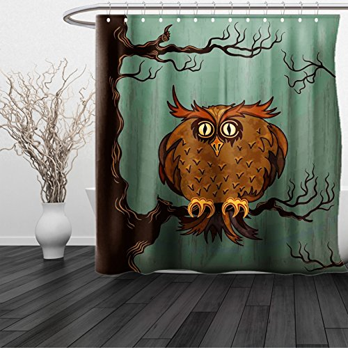 HAIXIA Shower Curtain Owls Home Exhausted Hangover Tired Owl in Oak Tree with Eyebrows Nature Cartoon Fun Artwork Queen Full Blue (Stripe Eyebrow Ring)
