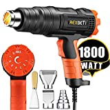 Tools & Hardware : REXBETI 1800W Variable Temperature Heat Gun, 140℉-1210℉(60℃-654℃) High Power Hot Air Gun, Ergonomic Body Design, 3 Nozzle Attachments, Fast Heating In Seconds, No Smoke Issue, Perfect for Home Jobs