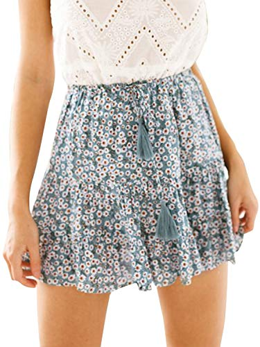 Season 4 Women's Dot Floral Print A line Skirt High Waist Ruffle Mini Skirts with Tassels Green,M ()