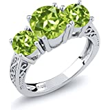 Sterling Silver Round Genuine Green VS Peridot 3-Stone Women's Ring (2.35 Carat, Available in size 5, 6, 7, 8, 9)