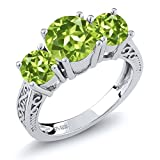 Sterling Silver Round Green VS Peridot 3-Stone Women's Ring 2.35 Carat (Available 5,6,7,8,9)
