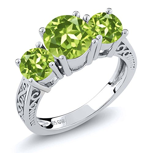 Ring Genuine Stone Peridot (Sterling Silver Round Green VS Peridot 3-Stone Women's Ring 2.35 Carat (Size 7))