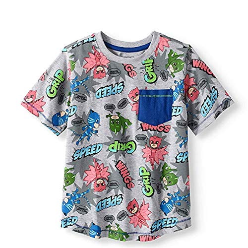 PJ Masks PJMASKS Short Sleeve T-Shirt Catboy, Owlette, Gekko Short Sleeve All Over Print Shirt W/Pocket (All Over Print, 3T)]()