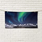 Chaneyhouse Sky,Hand Towel,Aurora Borealis Aurora Over Fjords Mountain at Night Norway Solar Image Artwork,Quick-Dry Towels,Green Dark Blue Size: W 20'' x L 20''