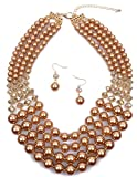 Shineland Elegant Multi-Strand Pearl Glass Crystal Cluster Collar Bib Choker Necklace EarringSets (4 Layered Gold)