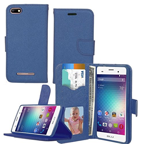 BLU Advance 5.0 HD A050U ,BLU Dash X2 D110U Case , Luxury Design Magnetic Leather Flip Wallet Pouch Cover Case Card Holder With a Viewing Stand -NAVY (Blu Dash Advance)