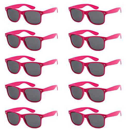 WHOLESALE UNISEX 80'S STYLE RETRO BULK LOT SUNGLASSES (Hot Pink, Smoke)]()