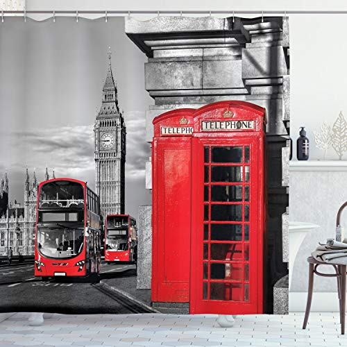 """Ambesonne London Shower Curtain, London Telephone Booth in The Street Traditional Local Cultural England UK Retro, Cloth Fabric Bathroom Decor Set with Hooks, 70"""" Long, Red Grey"""
