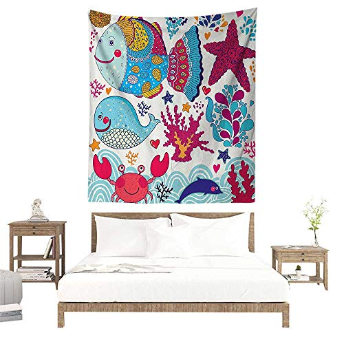 Tapestries,Whale Decor Collection,Funny Fishes Starfish Coral Crab Underwater Life and Waves Marine Clipart Image,Blue Magenta W40 x L60 inch Art Nature Home Decorations