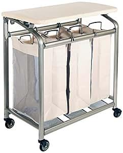 Seville Classics Mobile 3-Bag Heavy-Duty Laundry Hamper Sorter Cart/w Folding Table