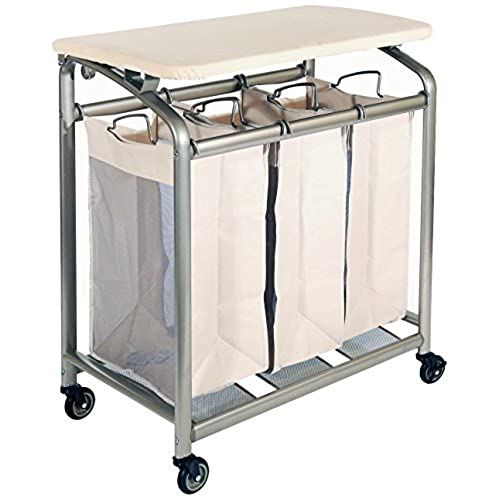 Seville Classics Mobile 3 Bag Heavy Duty Laundry Hamper Sorter Cart/w Folding  Table