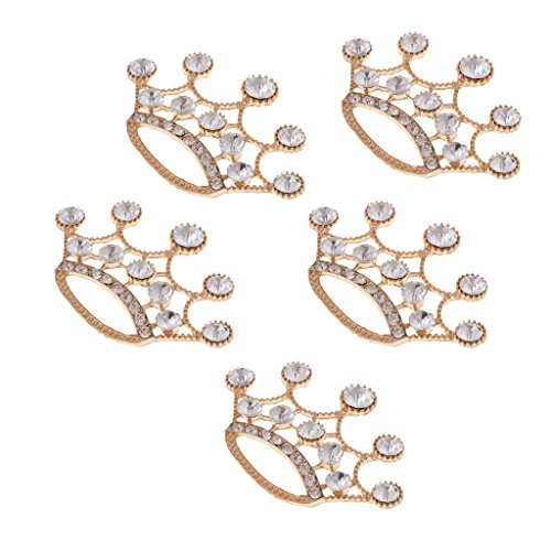 - Homyl 5 Pieces Gold Plated Crown Crystal Buttons Flatback Rhinestone Crown Buckles Connector DIY Embellishment for Headwear Hair Findings Accessory Making Supplies