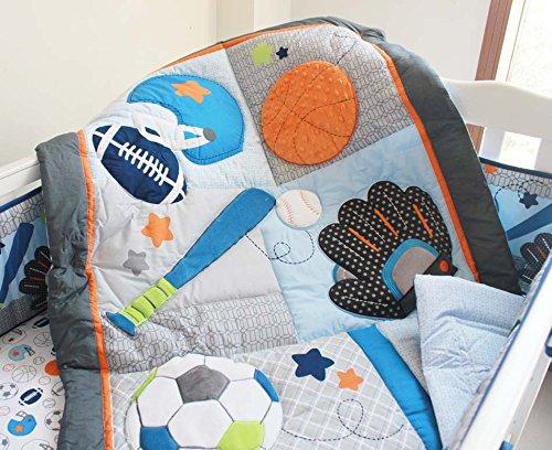 NAUGHTYBOSS Baby Bedding Set Cotton 3D Embroidery Ball Sport Quilt Bumper Bedskirt Mattress Cover Diaper Bag Window Curtain Blanket 10 Pieces Set Blue by NAUGHTYBOSS (Image #4)