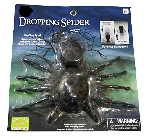 Dropping Dangling Spider Flashing Eyes Sound and Touch Activated Halloween PROP -
