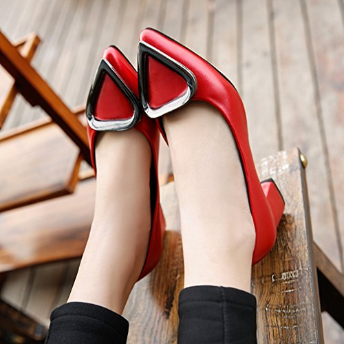 GIY Womens Classic Pumps Loafers Pointed Toe Comfort Slip-On Buckle Block Heel Dress Loafer Oxford Shoe Red ivVjnBc1g