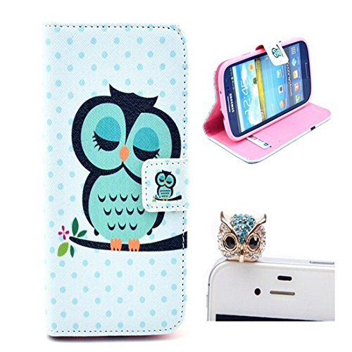 Gtt 2 in1 Accessory Set 3D Leather Case Little Owl Flip Case Polka Dot Case Flower Cover fairytale Stand Case for Samsung Galaxy S3 S III I9300 by credit card Card Wallet hole Handmade Book Hybrid wallet Sweet Animals Cartoon Wood + Luxury Bling Glitter Diamond Crystal Owl Animals anti-dust stopper plug - White Green Yellow Black