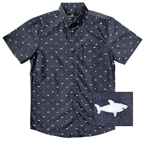 Official Molokai Shirts (Sharks (Navy), Large) (Shirt Fish Design)