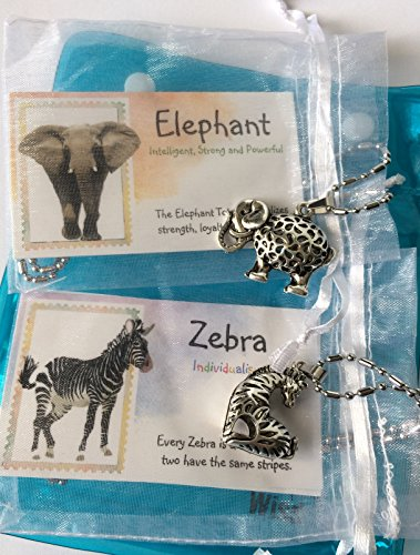 Smiling Wisdom - Zebra, Elephant - 2 Hollow Animal Necklaces Gift Sets - Spirit Totem Animal - Boys, Children, Tweens, Teens, Girls, Friends - Morale Events, Ice Breakers, Holiday (Animal Totems Elephant)