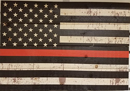 Rustic Firefighter red line fireman law enforcement multi panel Wood Sign