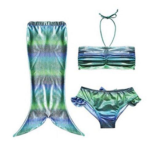 [Girls 3pcs Swimmable Mermaid Tail Princess Bikini Bathing Wear Swimwear Swimsuit (size 110(3-4years old),] (Ariel Costumes Toddler)