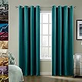 ChadMade Blackout Lined Premium Velvet Curtain Everlade Teal 50Wx84L Inch (1 Panel), Eyelet Grommet For Livingroom Bedroom Theater Studio, BIRKIN Collection