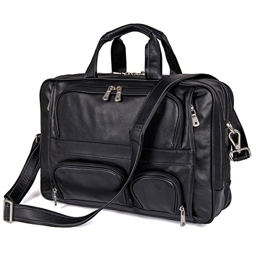 Augus Business Travel Brifecase Genuine Leather Duffel Bags for Men Laptop Bag fits 17 inches Laptop by Augus (Image #3)