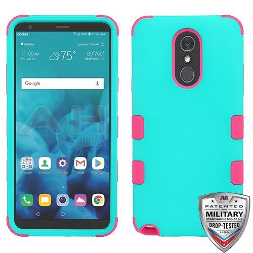 Hybrid Package - Rubberized Teal Green/Electric Pink TUFF Hybrid Phone Protector Cover [Military-Grade Certified](with Package) for LG Stylo 4 LG Stylo 4 Plus