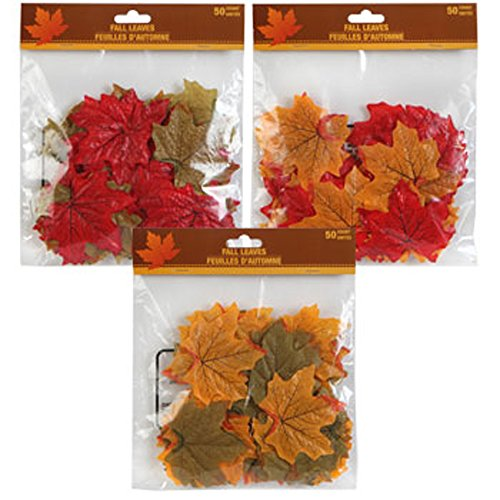 150 Artificial Fall Leaves in a Variety of Autumn Colors