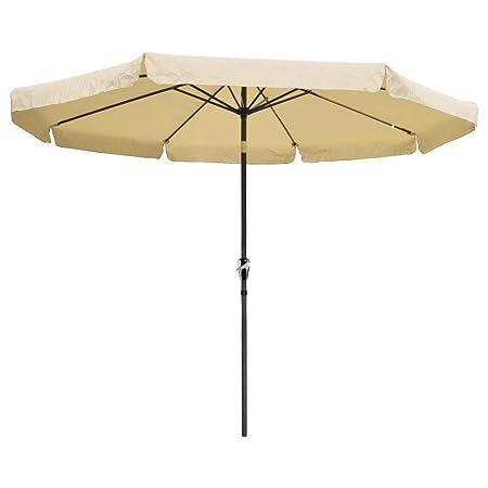 Yescom 10ft Aluminum Outdoor Patio Umbrella w Crank Tilt Deck Market Yard Beach Pool Cafe Beige