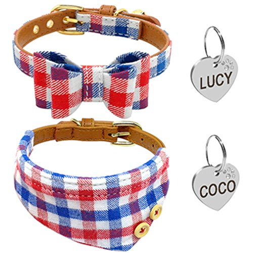LOVELY Puppy Dog Cat Collar Bandana Set Soft Cotton Bowknot Collars With Engraved ID Tag Blue S