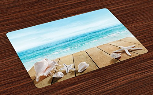 Ambesonne Seashells Place Mats Set of 4, Wooden Boardwald with Seashells Sunshine Vacations Beach Theme, Washable Fabric Placemats for Dining Table, Standard Size, Blue Beige (Placemats Summer)