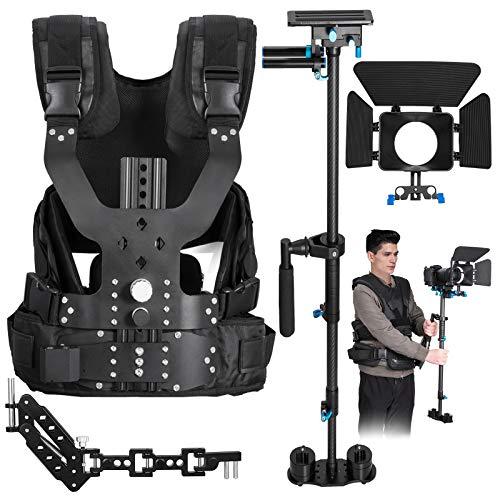 Happybuy Stabilizer Kit with Camera 4 in 1 Carbon Fiber Handheld Stabilizer Kit Camcorder DSLR DV Camera Steadicam Load Vest + Handheld Stabilizer + Single Handle Arm + Matte Box + Carry Bag