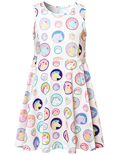 Unicorn Dress Girls Polka Dot Birthday Party Supplies Summer Casual (Dresses For Teenage Girls Cheap)