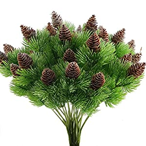 Nahuaa 4PCS Fake Cedar Pine Branches with Artificial Pine Cones Plastic Shrubs Faux Greenery Bushes Bundles Table Centerpieces Arrangements Home Kitchen Office Indoor Outdoor Decorations 48