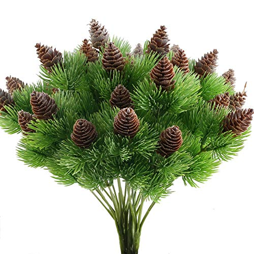 (Nahuaa 4PCS Fake Cedar Pine Branches with Artificial Pine Cones Plastic Shrubs Faux Greenery Bushes Bundles Table Centerpieces Arrangements Home Kitchen Office Indoor Outdoor Decorations)