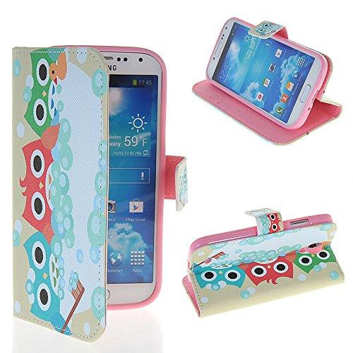 Galaxy S4 Case,COOLKE [003] [Owl] Beautiful Cartoon Pattern Wallet Flip Cover Folio Case for Samsung I9500 Galaxy S4