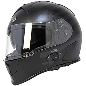 6. Torc T14B Bluetooth Integrated Mako Full Face Helmet with Flag Graphic