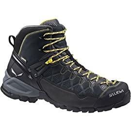 Salewa Men's Alp Trainer Mid GTX Alpine Trekking Boot | Hiking, Trekking, Scrambles | Gore-Tex Waterproof Breathable, Vibram Sole, Suede and PU Coated Leather Upper