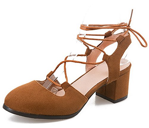 Odomolor Women's Solid Frosted Kitten-Heels Lace-up Round-Toe Pumps-Shoes, Brown, 41