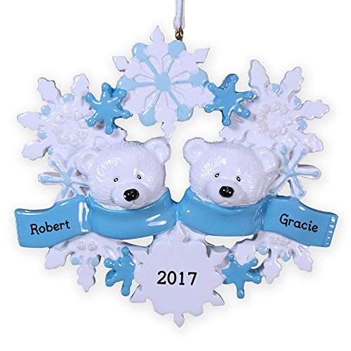 GiftsForYouNow Personalized Polar Bear Family of 2 Ornament, 4