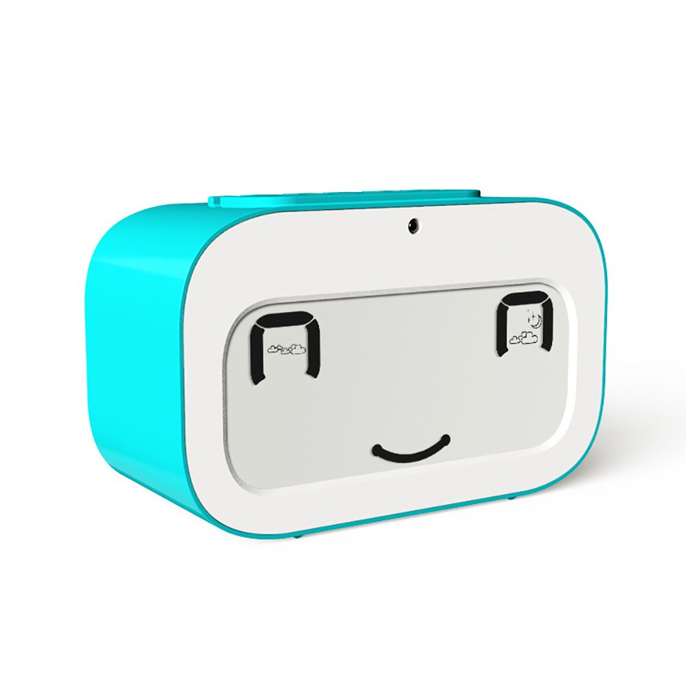 Emoji Alarm Clock with Backlight, Cuitan Display Time Date Temperature Digital Office Desk Clock Travel Bedside Wake Up Alarm Clock, Gift for Kids/Children, Snooze Function, Battery Operated (Blue)