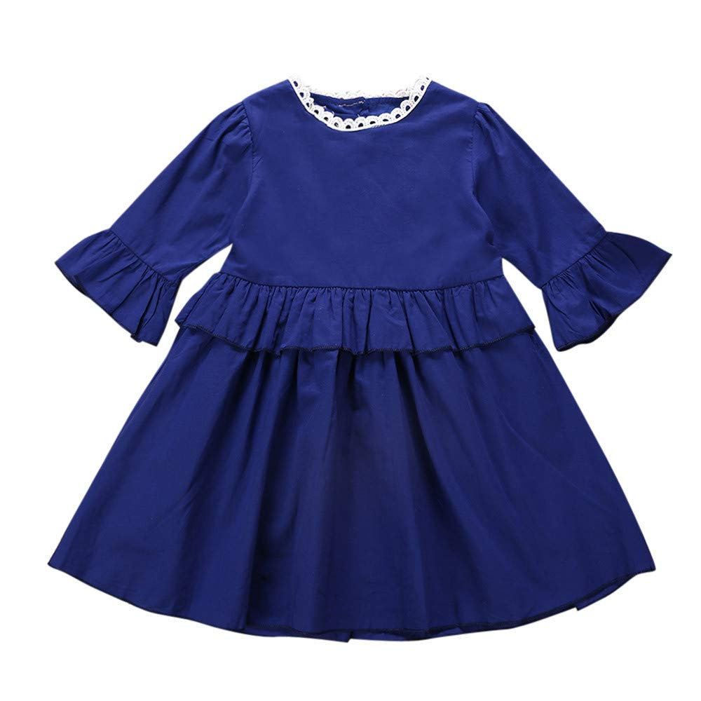 Woaills-Tops 2018 New!!Princess Dresses,Toddler Infant Baby Girls Solid Flare Sleeve Ruffle Clothing (18-24 Months, Dark Blue)