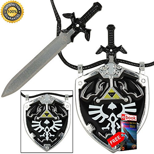MoonKnives NEW Dark Link Master Sword & Hylian Shield Legends Necklace - Black PRIME Cosplay eBOOK by MOON KNIVES.