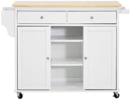Amazon.com - Baxton Studio Meryland White Modern Kitchen Island Cart ...