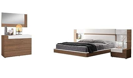 Amazon.com: Mar Modern Queen Bedroom Set in Natural Walnut & White ...