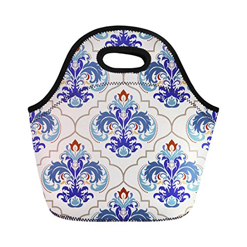 Semtomn Lunch Tote Bag Beige Floral Turkish Colorful Pattern Endless Ceramic Linoleum Blue Reusable Neoprene Insulated Thermal Outdoor Picnic Lunchbox for Men ()