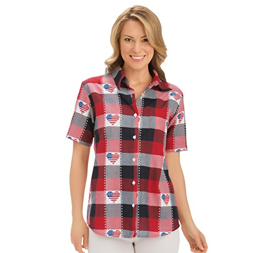 Womens Classic Americana Button Down Plaid Shirt, Red/White/Blue, Xx-Large Plus, Plus-Size