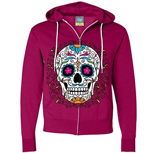 Price comparison product image Dia De Los Muertos Pastel Sugar Skull Zip-Up Hoodie - Bright Pink X-Large
