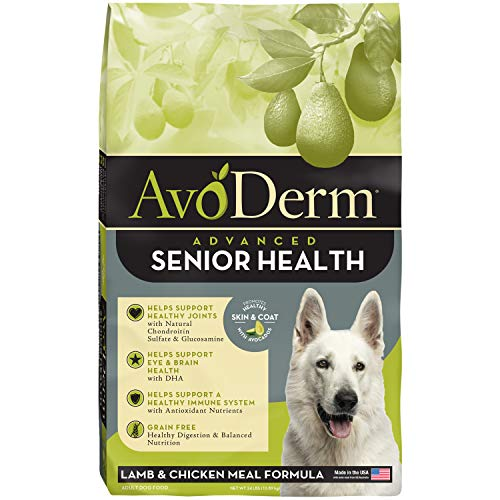 AvoDerm Natural Advanced Senior Health, Grain Free Dry Dog Food, Lamb & Chicken Meal Formula, 24 lb Bag